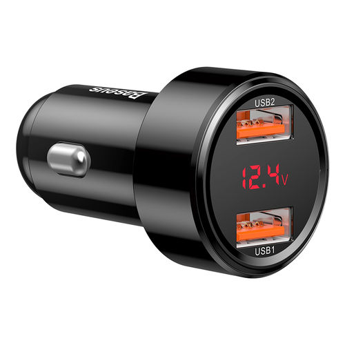 Baseus 45W Dual USB QC LED Fast Car Charger for Mobile Phone / Tablet